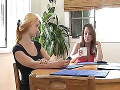 Teen girls are exploring the wetness of their pussies on the table