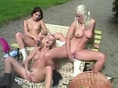 Lovely girls caress yummy pussies